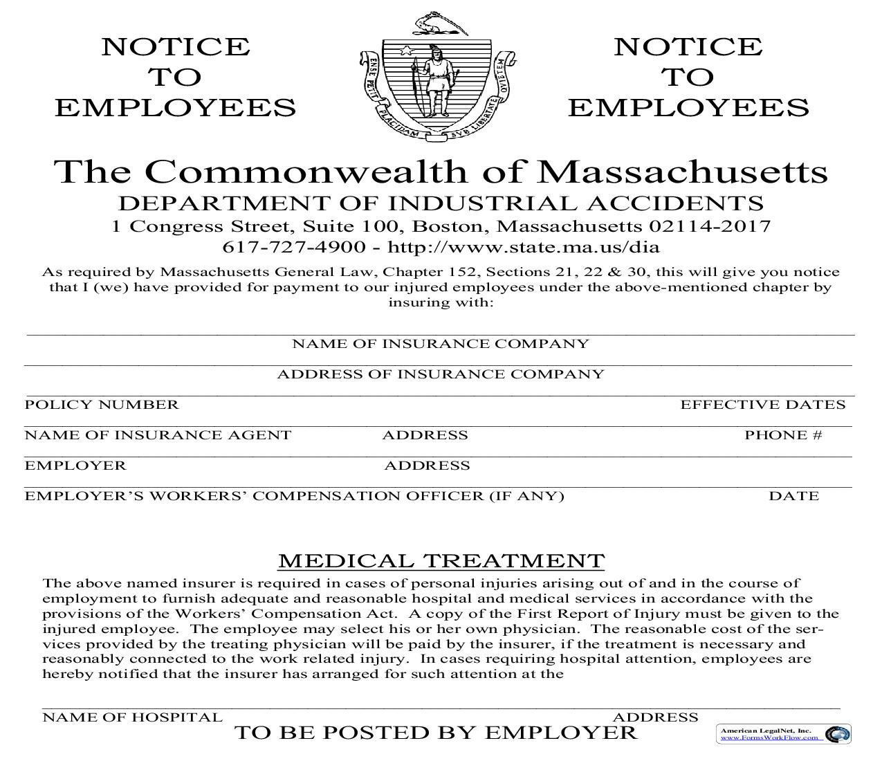 Notice To Employees (Of Workers Compensation Coverage) | Pdf Fpdf Doc Docx | Massachusetts