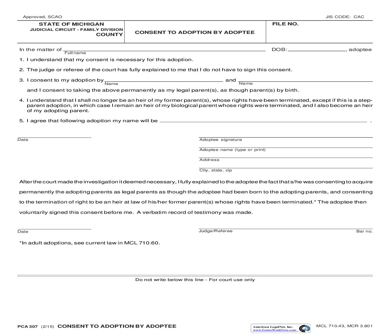 Consent To Adoption By Adoptee {PCA 307} | Pdf Fpdf Doc Docx | Michigan