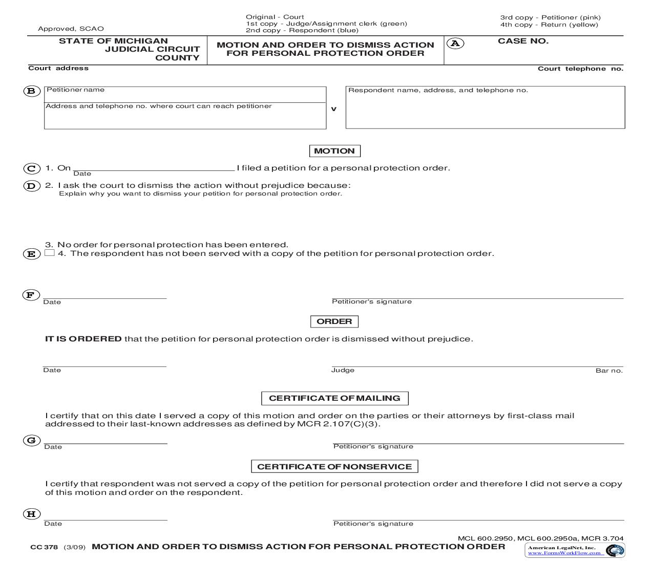 Motion And Order To Dismiss Action For Personal Protection Order {CC 378} | Pdf Fpdf Doc Docx | Michigan