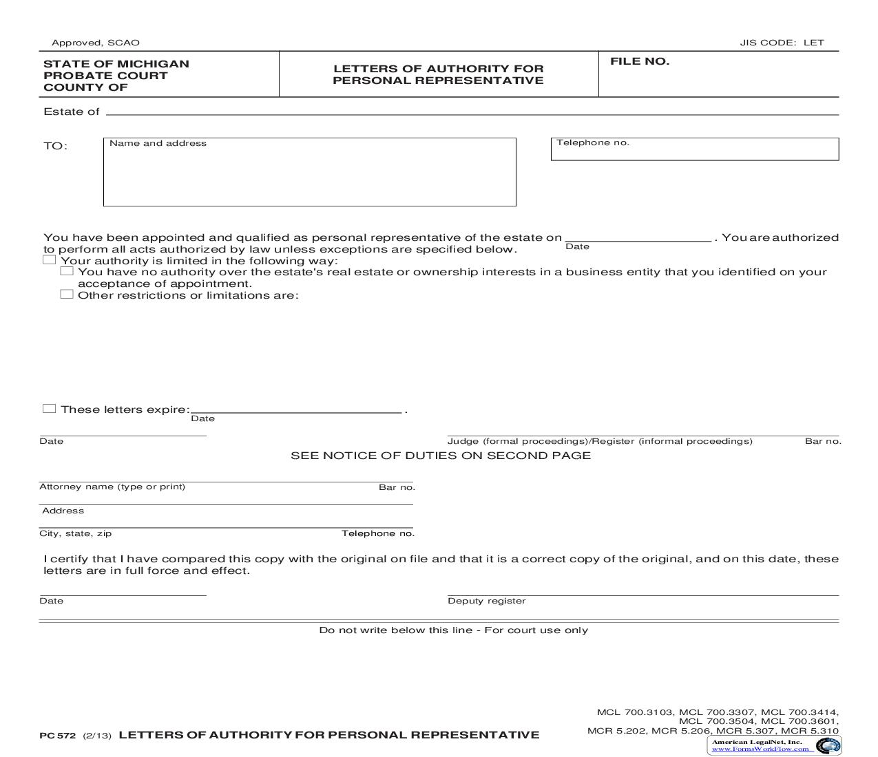 Letters Of Authority For Personal Representative {PC 572} | Pdf Fpdf Doc Docx | Michigan