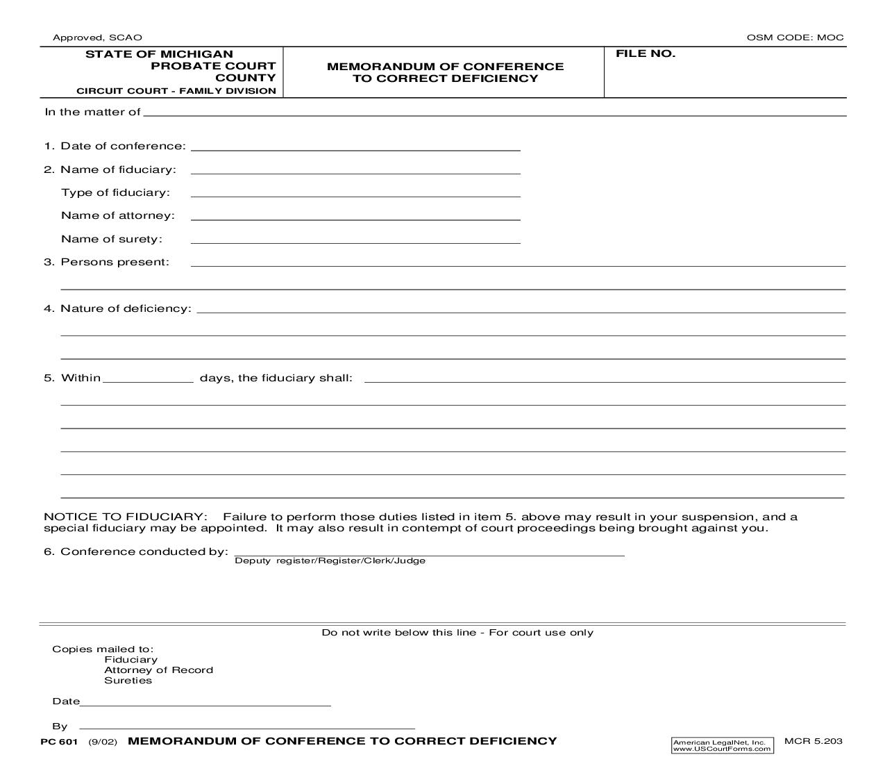 Memorandum Of Conference To Correct Deficiency {PC 601} | Pdf Fpdf Doc Docx | Michigan