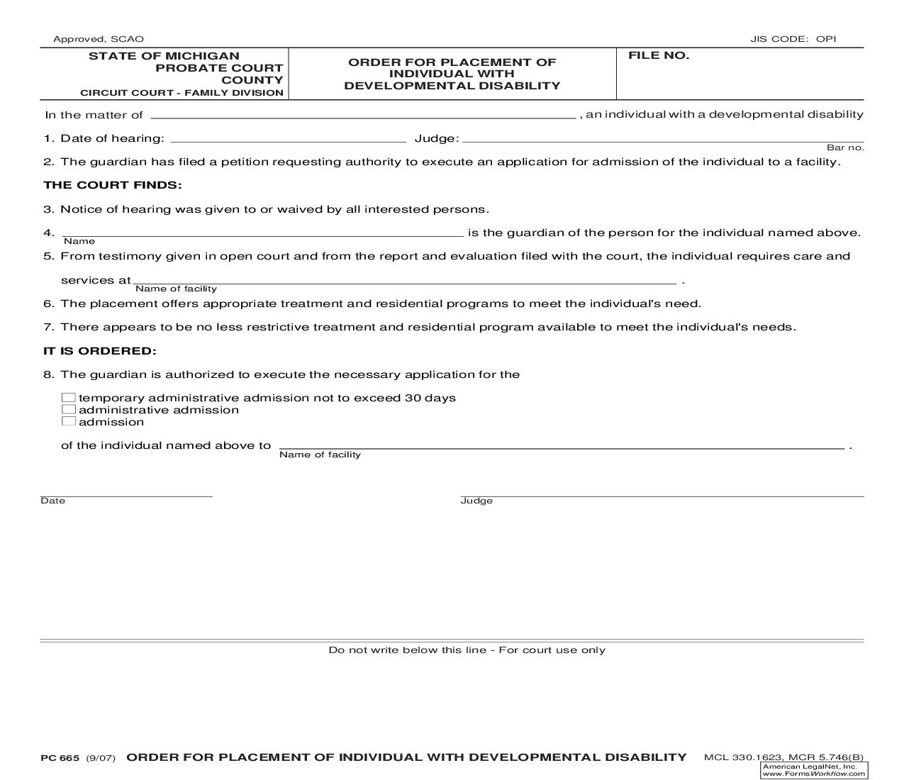 Order For Placement Of Individual With Developmental Disability {PC 665} | Pdf Fpdf Doc Docx | Michigan