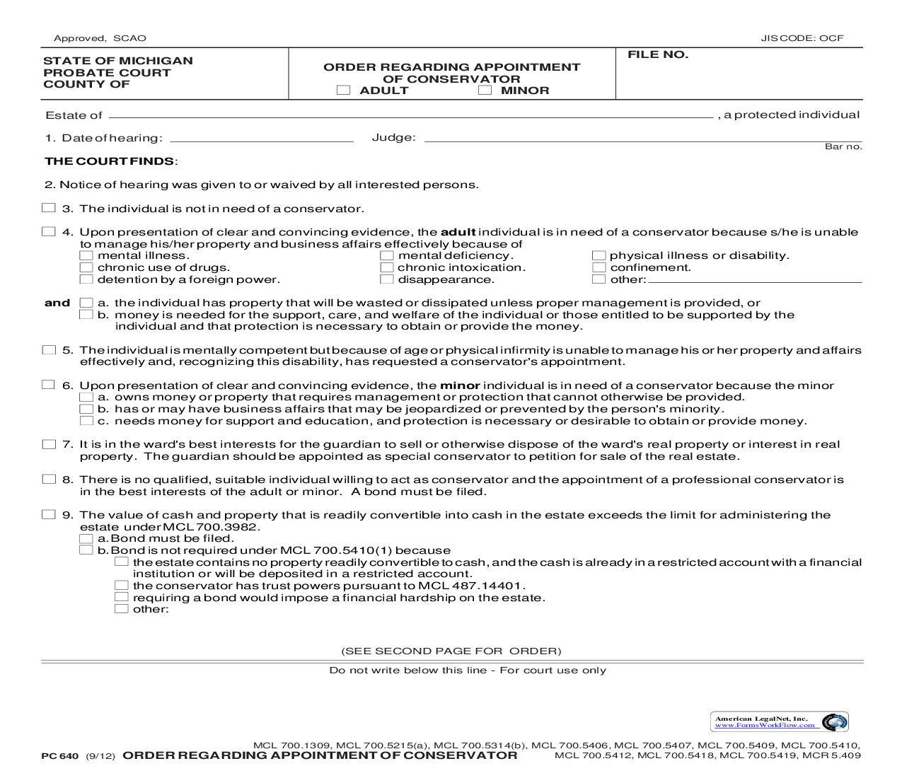 Order Regarding Appointment Of Conservator {PC 640}   Pdf Fpdf Doc Docx   Michigan