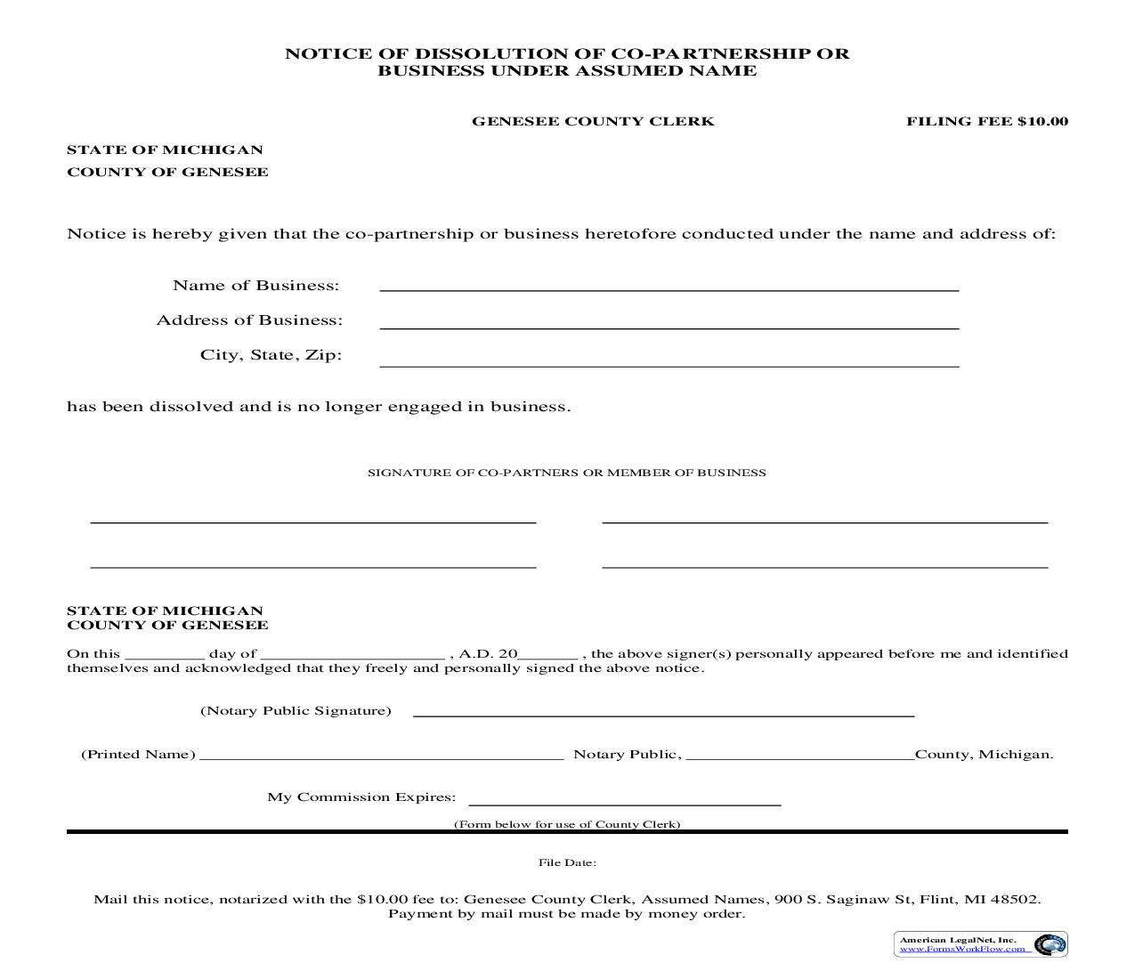 Notice Of Dissolution Of Co-Partnership Or Business Under Assumed Name | Pdf Fpdf Doc Docx | Michigan