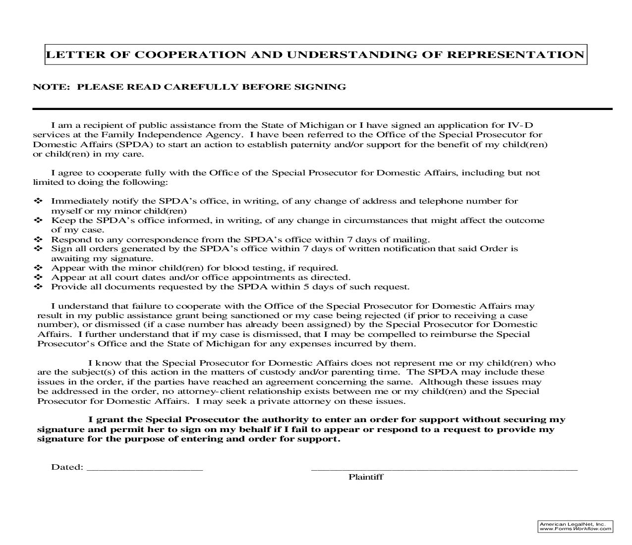 Letter Of Cooperation And Understanding Of Representation | Pdf Fpdf Doc Docx | Michigan