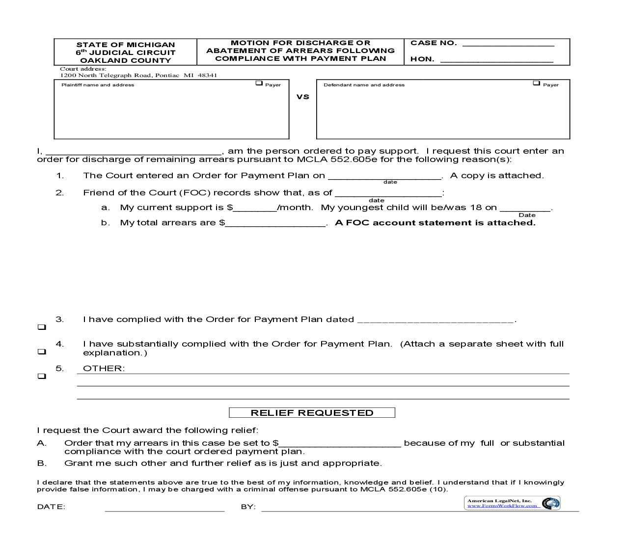 Motion For Discharge Or Abatement Of Arrears Following compliance With Payment Plan | Pdf Fpdf Doc Docx | Michigan