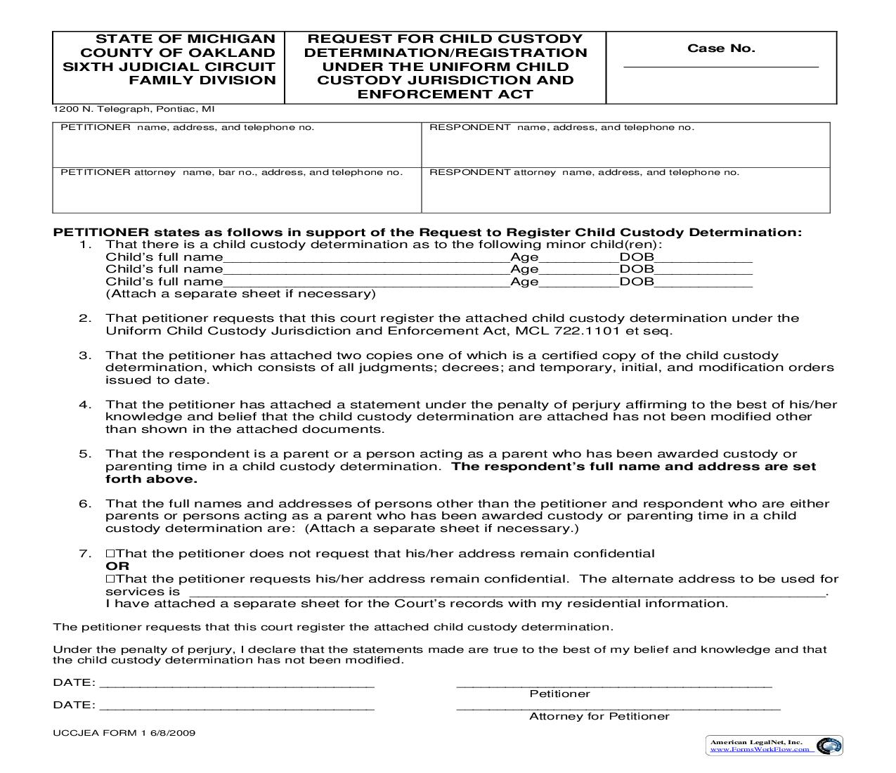Request For Child Custody Determination Registration Under The Uniform Child Custody Jurisdiction And Enforcement Act | Pdf Fpdf Doc Docx | Michigan