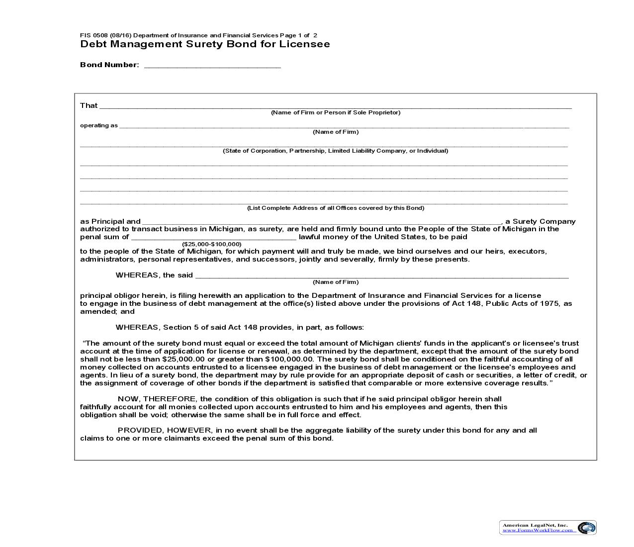 Debt Management Surety Bond For Licensee {FIS-0508} | Pdf Fpdf Doc Docx | Michigan