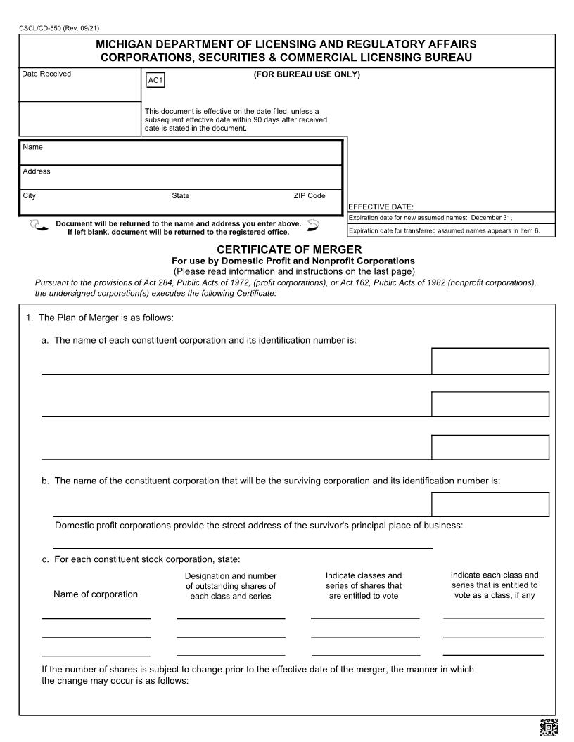 Certificate Of Merger Or Consolidation For Use By Domestic Nonprofit Corporations {550} | Pdf Fpdf Docx | Michigan