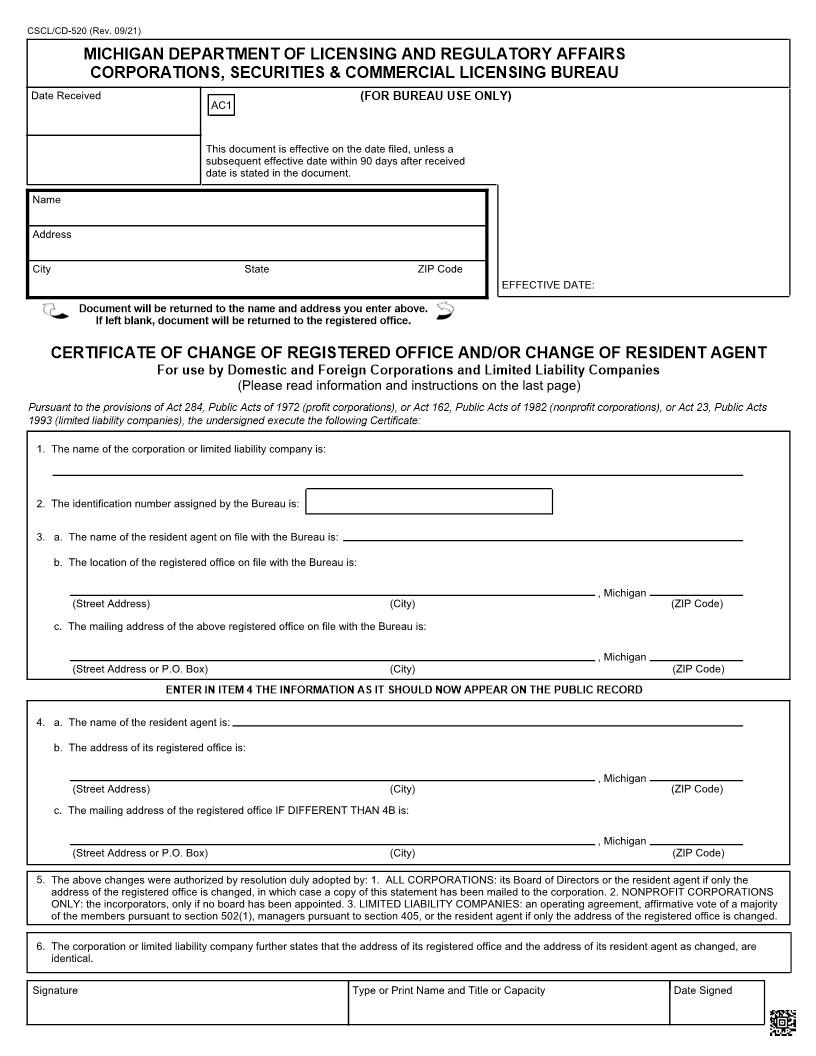 Certificate Of Change Of Registered Office And Or Change Of Resident Agent {520} | Pdf Fpdf Docx | Michigan