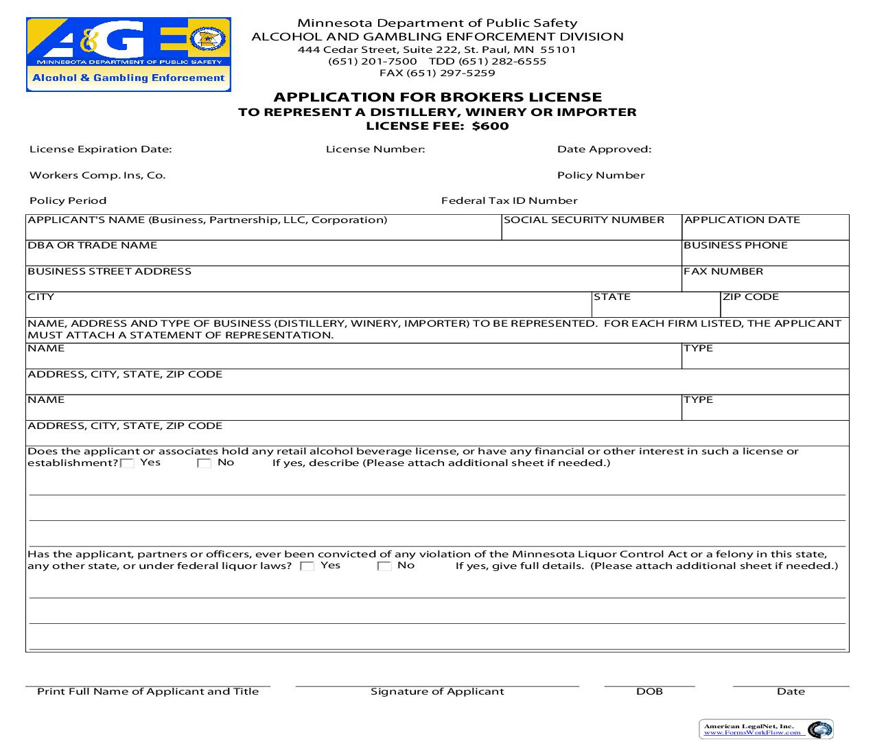 Application For Brokers License To Represent A Distillery Winery Or Importer | Pdf Fpdf Doc Docx | Minnesota