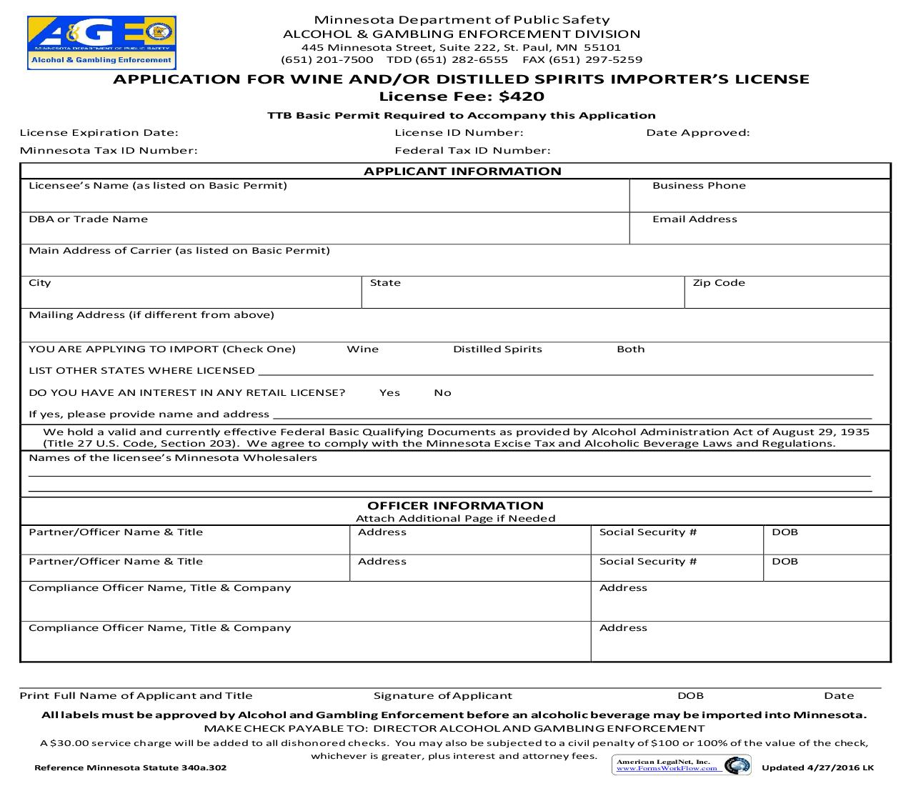 Application For Wine And Or Distilled Spirits Importers License | Pdf Fpdf Doc Docx | Minnesota