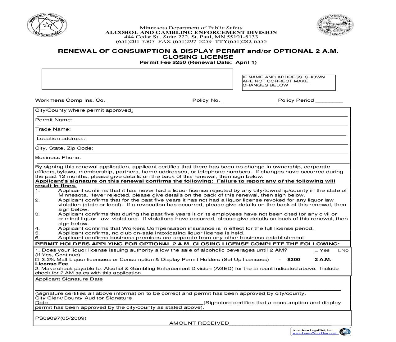 Renewal Of Consumption And Display Permit And Or Optional 2 AM Closing License {PS09097} | Pdf Fpdf Doc Docx | Minnesota