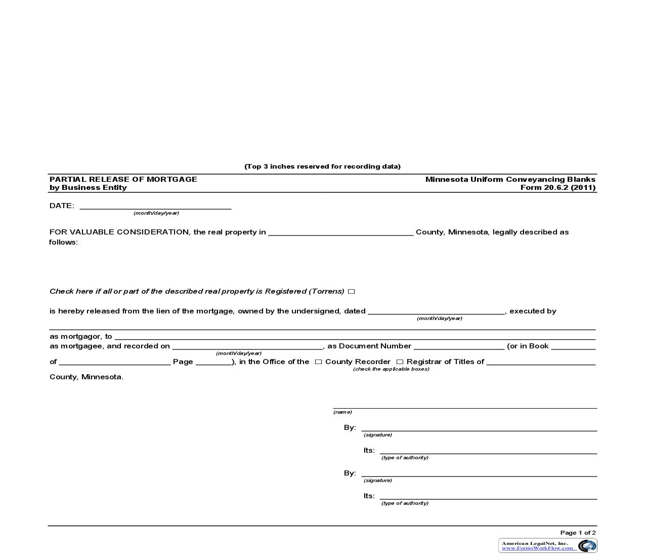 Partial Release Of Mortgage By Business Entity {20.6.2} | Pdf Fpdf Doc Docx | Minnesota