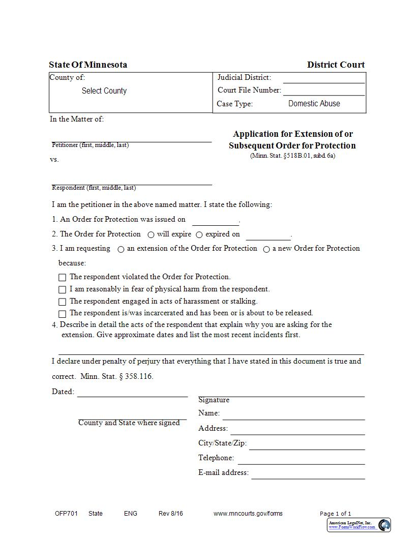 Application For Extension Of Or Subsequent Order For Protection {OFP-701} | Pdf Fpdf Docx | Minnesota