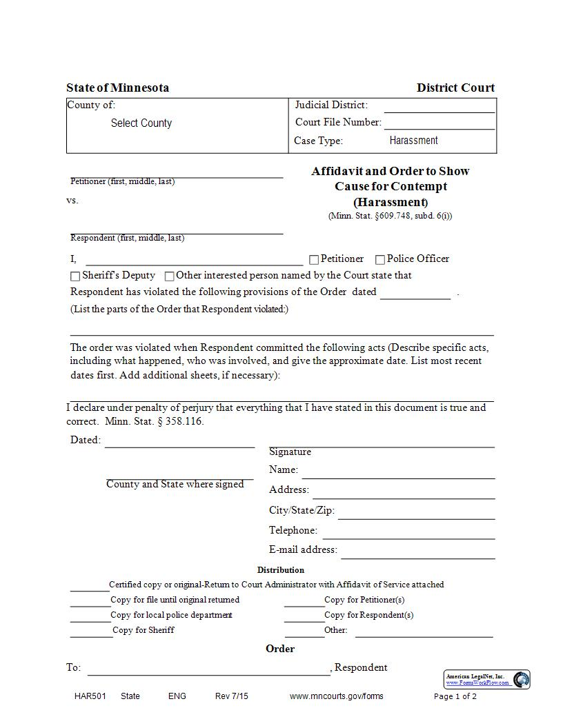 Affidavit And Order To Show Cause For Contempt (Harassment) {HAR-501} | Pdf Fpdf Docx | Minnesota