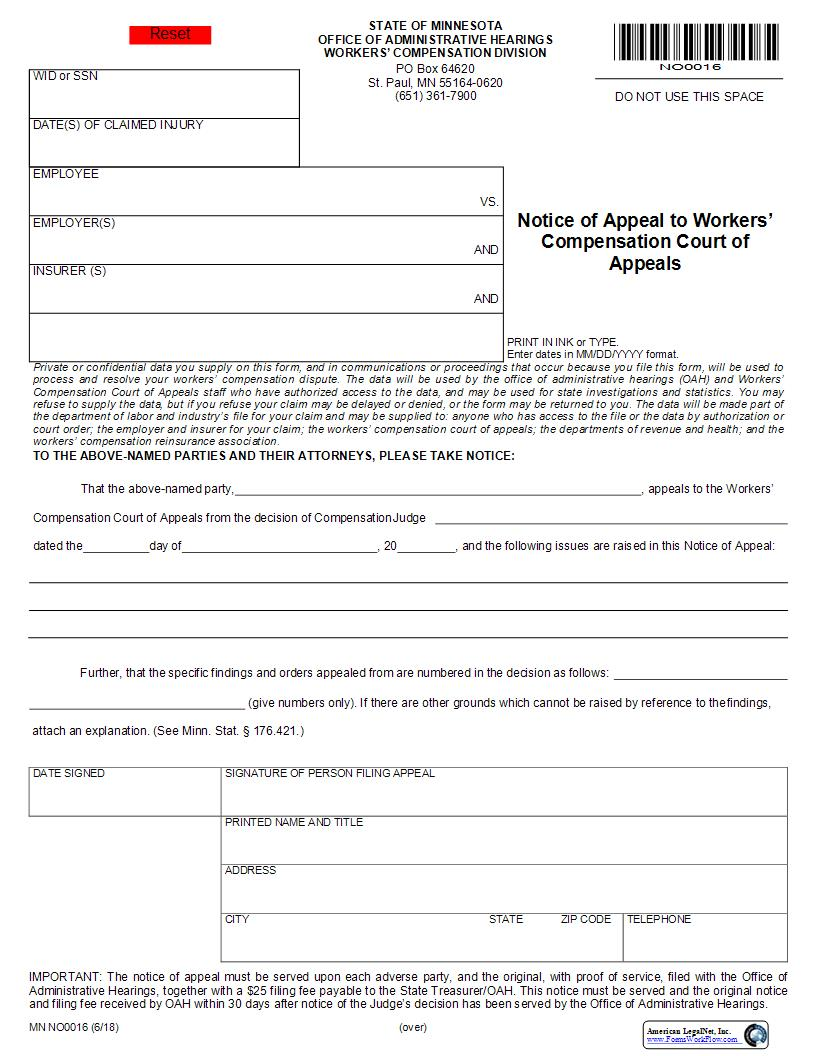 Notice Of Appeal To Workers Compensation Court Of Appeals {NO0016} | Pdf Fpdf Docx | Minnesota
