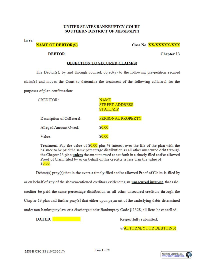 Objection To Secured Claims Regarding Personal Property {MSSB-OSC-PP} | Pdf Fpdf Docx | Mississippi