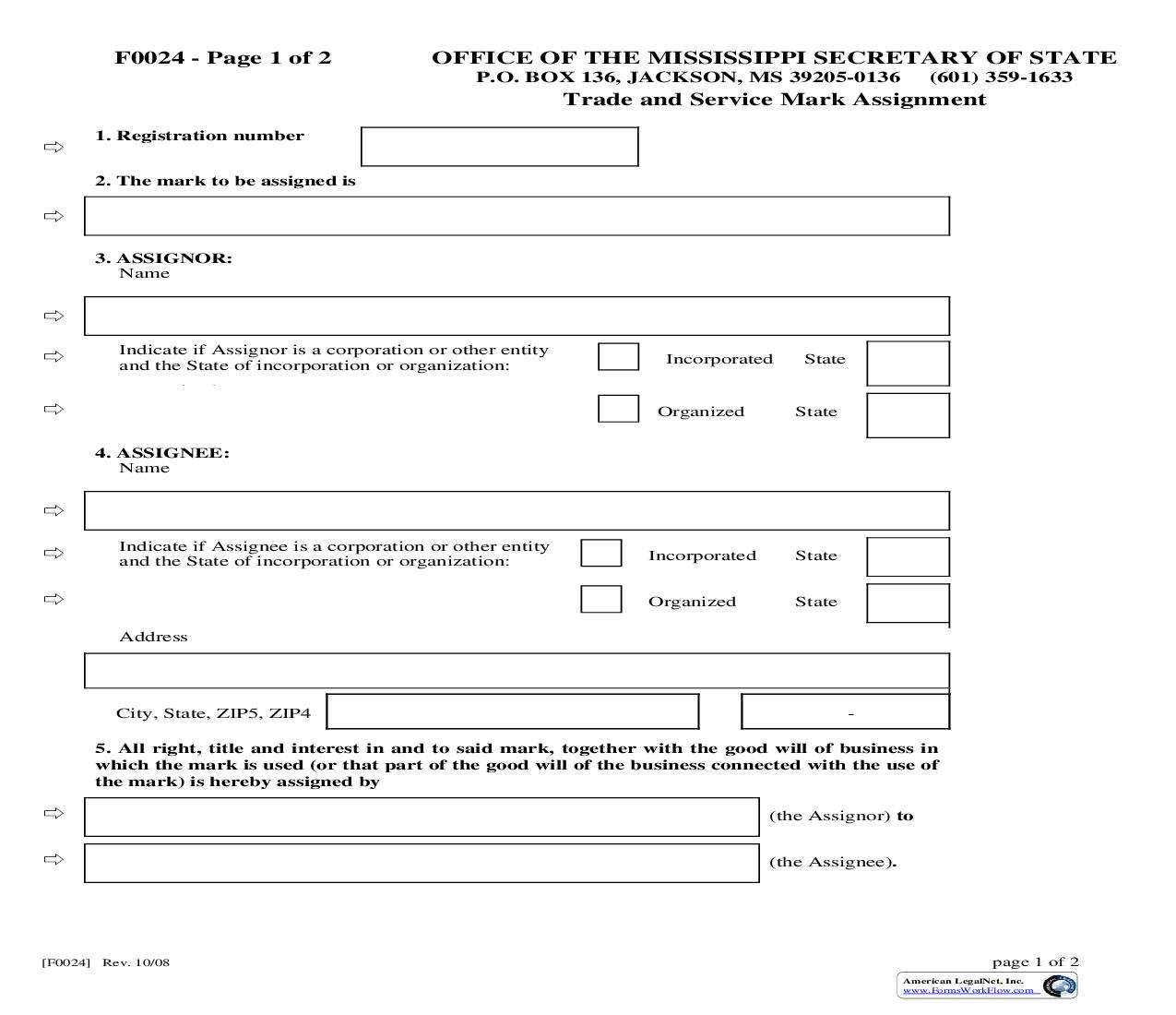Trade And Service Mark Assignment {F0024} | Pdf Fpdf Doc Docx | Mississippi