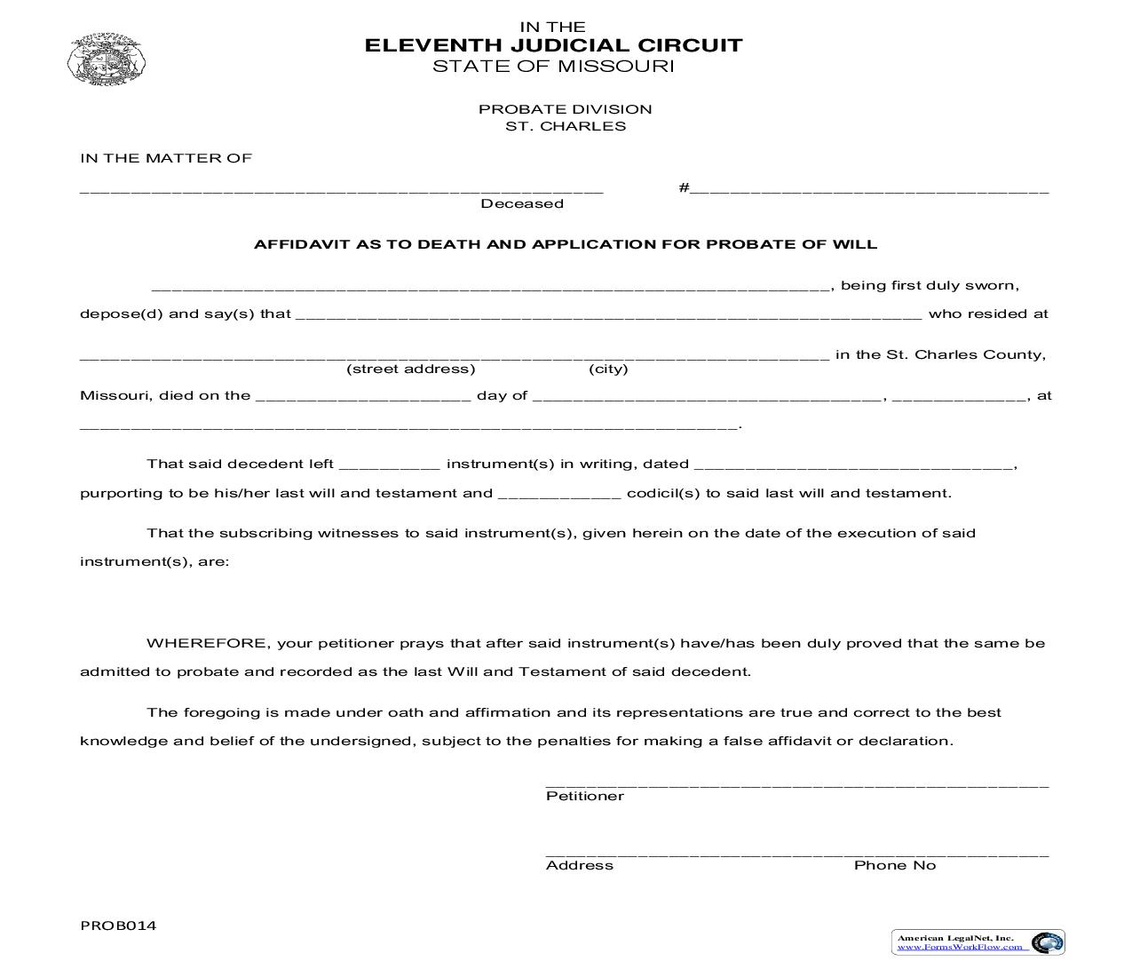 Affidavit As To Death And Application For Probate Of Will | Pdf Fpdf Doc Docx | Missouri