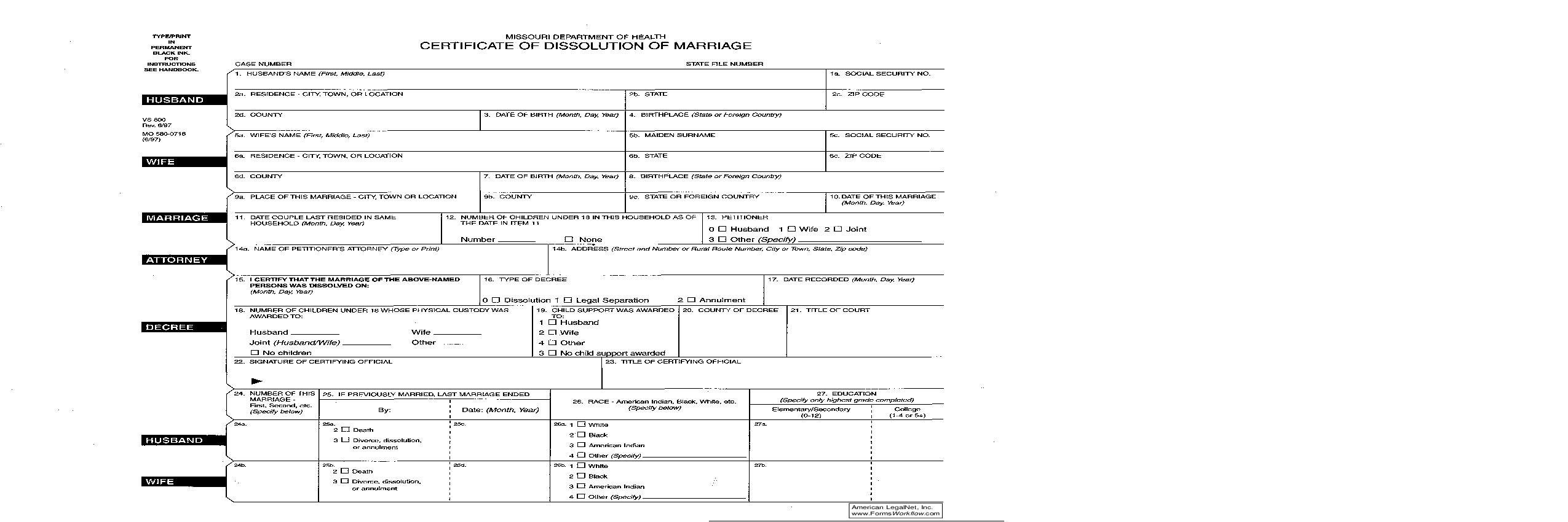 Certificate of Dissolution of Marriage   Pdf Fpdf Doc Docx   Missouri