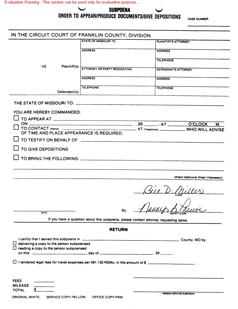 Subpoena - Order To Appear-Produce Documents-Give Depositions | Pdf Fpdf Doc Docx | Missouri