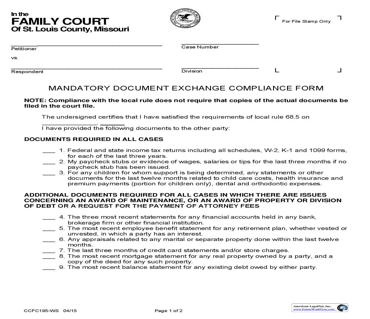 Mandatory Document Exchange Compliance Form {CCFC195} | Pdf Fpdf Doc Docx | Missouri