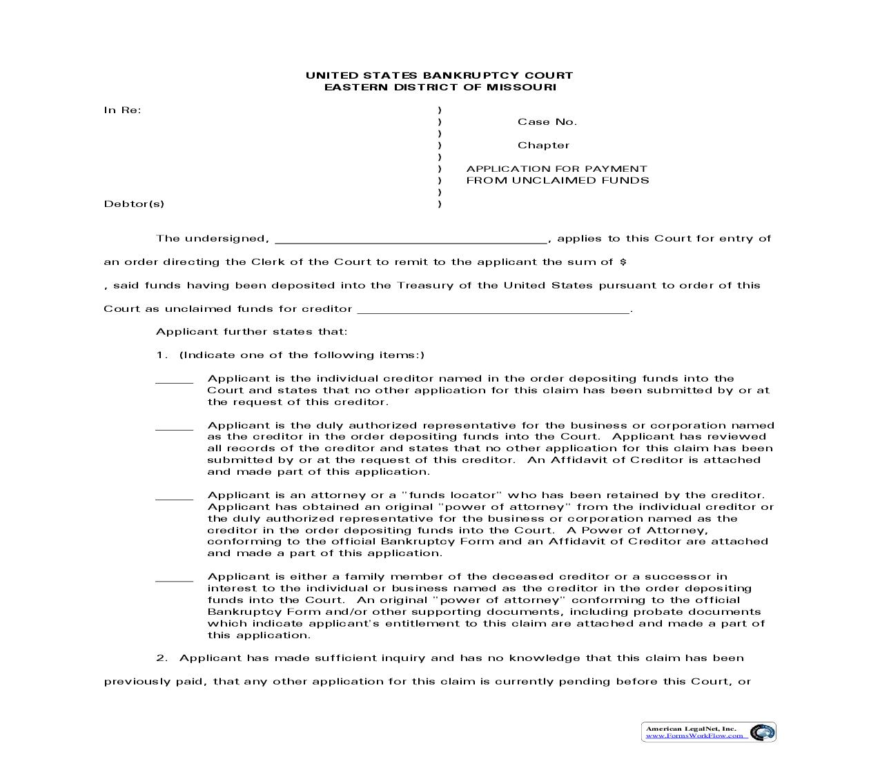 Application For Payment From Unclaimed Funds | Pdf Fpdf Doc Docx | Missouri