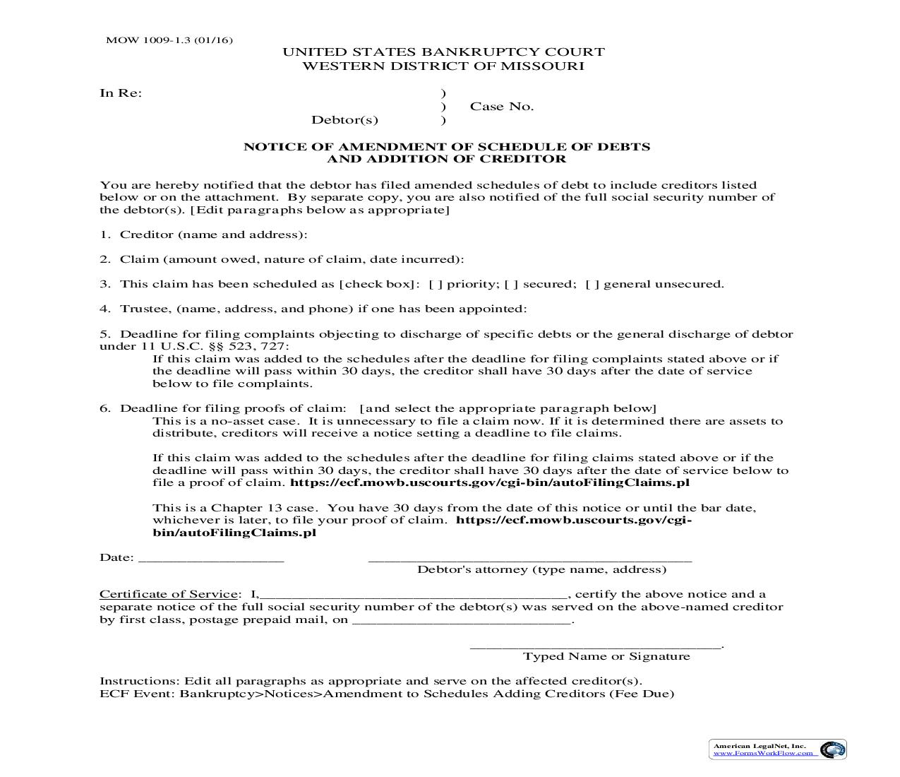 Notice Of Amendment Of Schedule Of Debts And Addition Of Creditor {MOW 1009-1.3}   Pdf Fpdf Doc Docx   Missouri