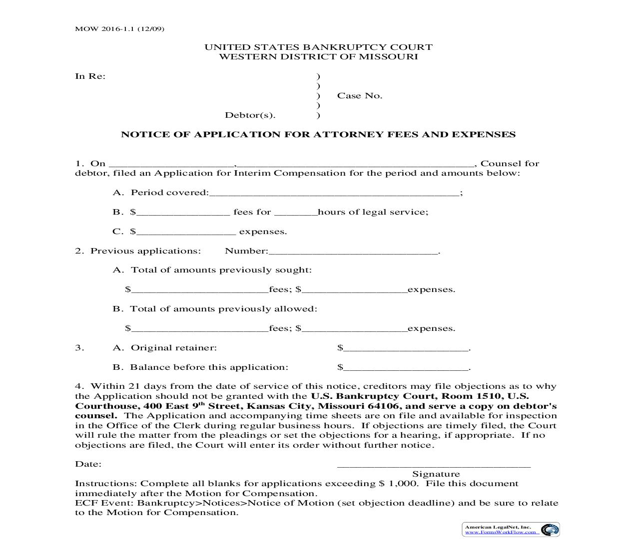 Notice Of Application For Attorney Fees And Expenses {MOW 2016-1.1} | Pdf Fpdf Doc Docx | Missouri