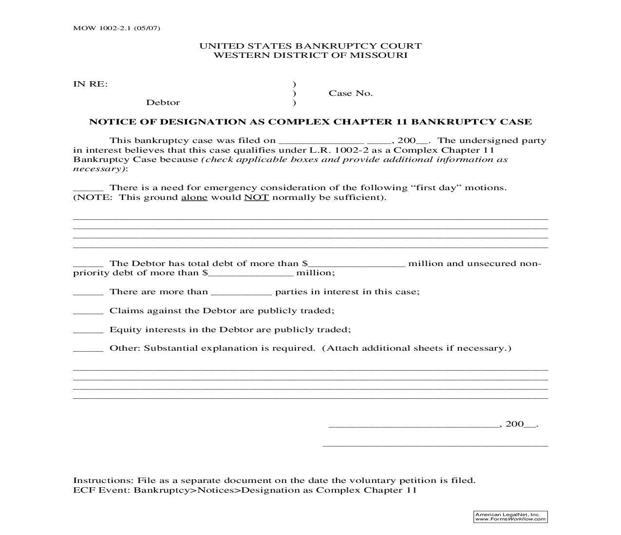Notice Of Designation As Complex Chapter 11 Bankruptcy Case {MOW 1002-2.1} | Pdf Fpdf Doc Docx | Missouri