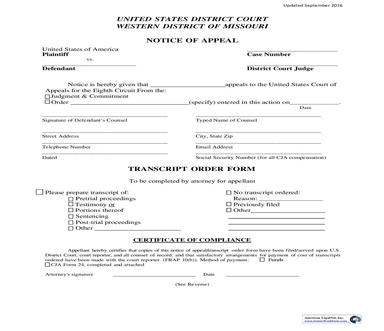 Notice Of Appeal | Pdf Fpdf Doc Docx | Missouri