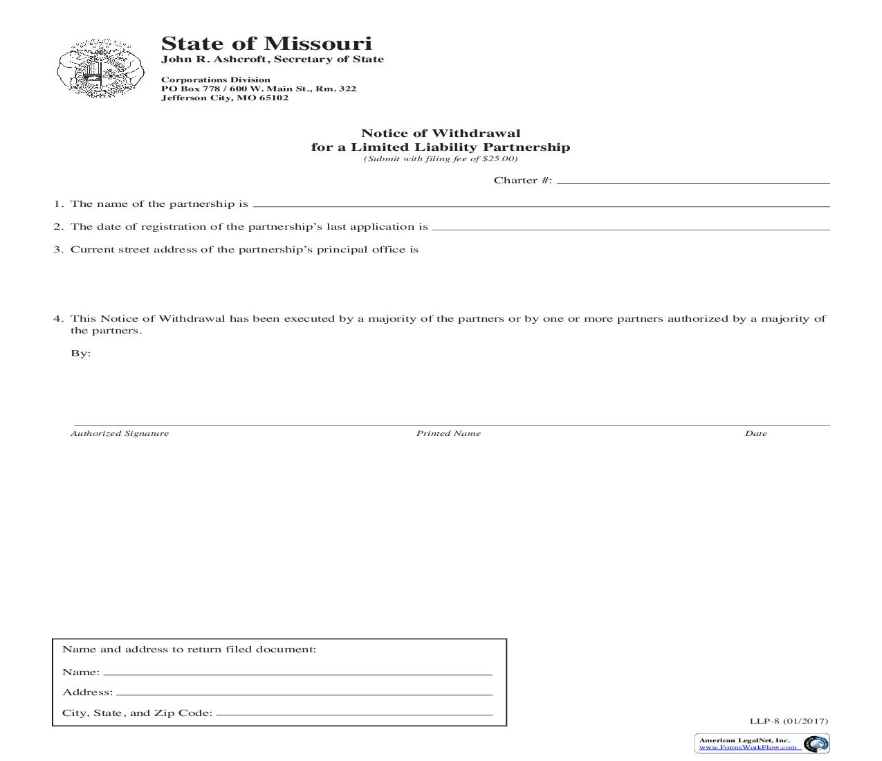 Notice Of Withdrawal For A limited Liability Partnership {LLP 8} | Pdf Fpdf Doc Docx | Missouri