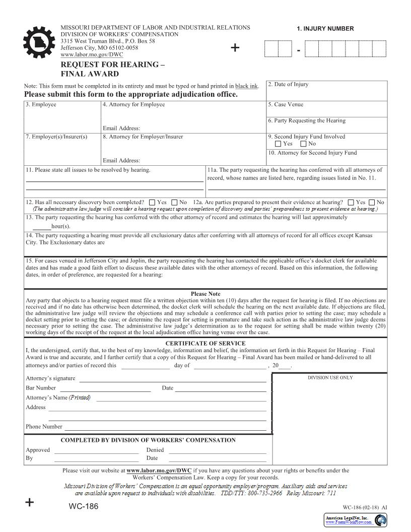 Request For Hearing - Final Award {WC-186}   Pdf Fpdf Docx   Missouri