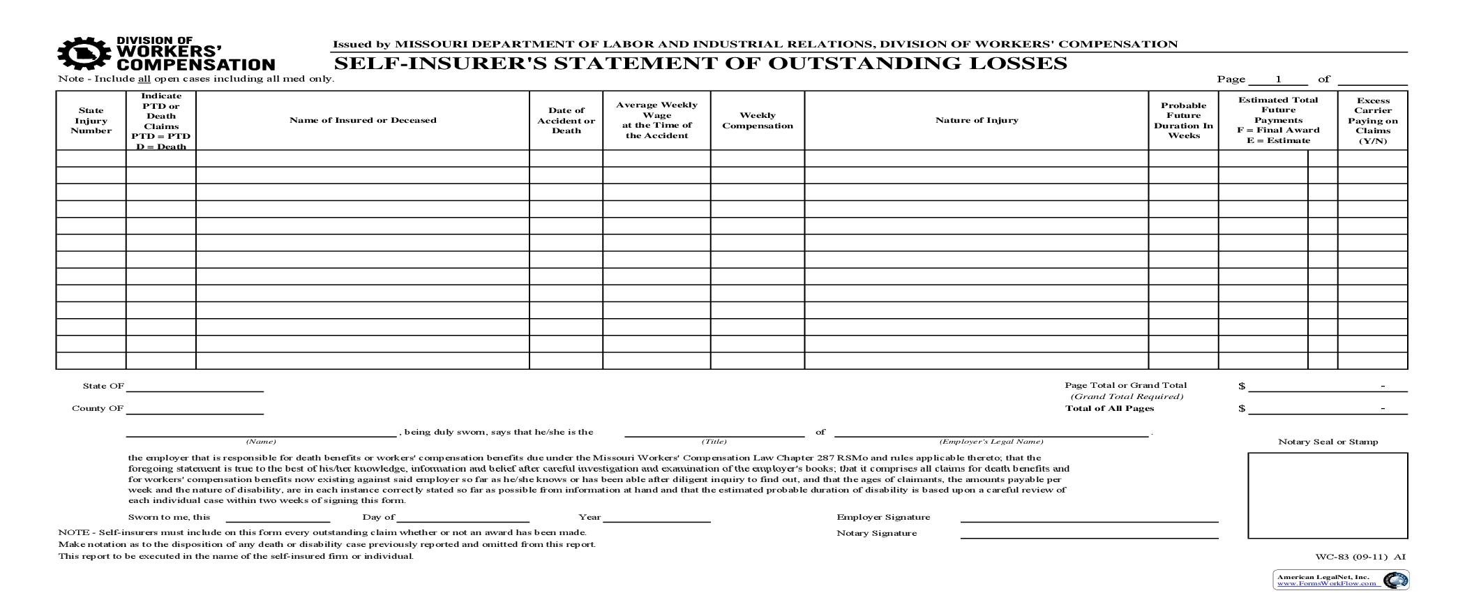 Self Insurers Statement Of Outstanding Losses {WC-83} | Pdf Fpdf Doc Docx | Missouri