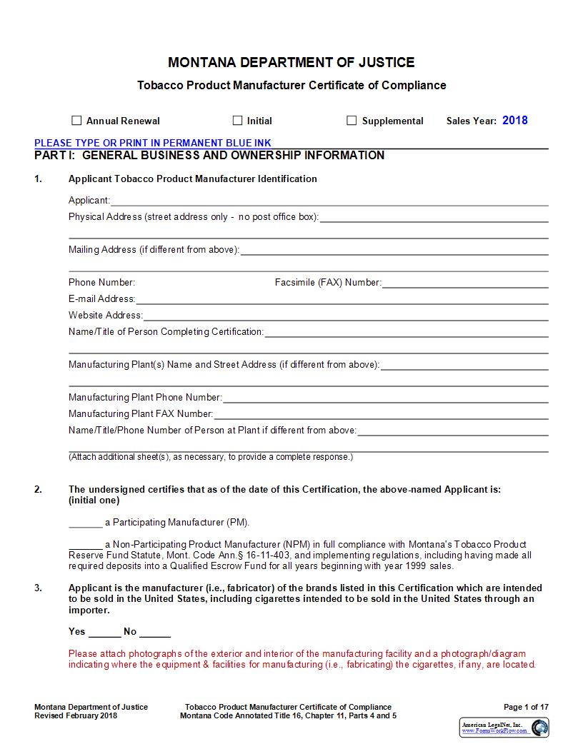 Tobacco Product Manufacturer Certificate Of Compliance | Pdf Fpdf Doc Docx | Montana