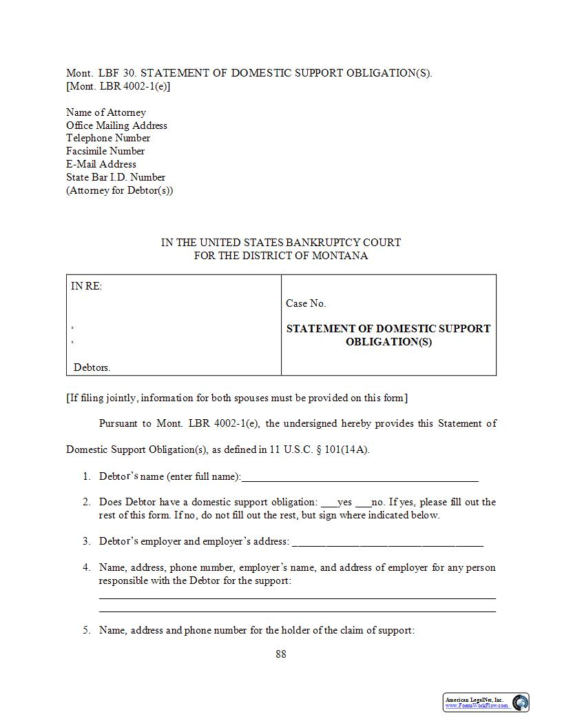 Statement Of Domestic Support Obligation(s) {LBF-30} | Pdf Fpdf Docx | Montana