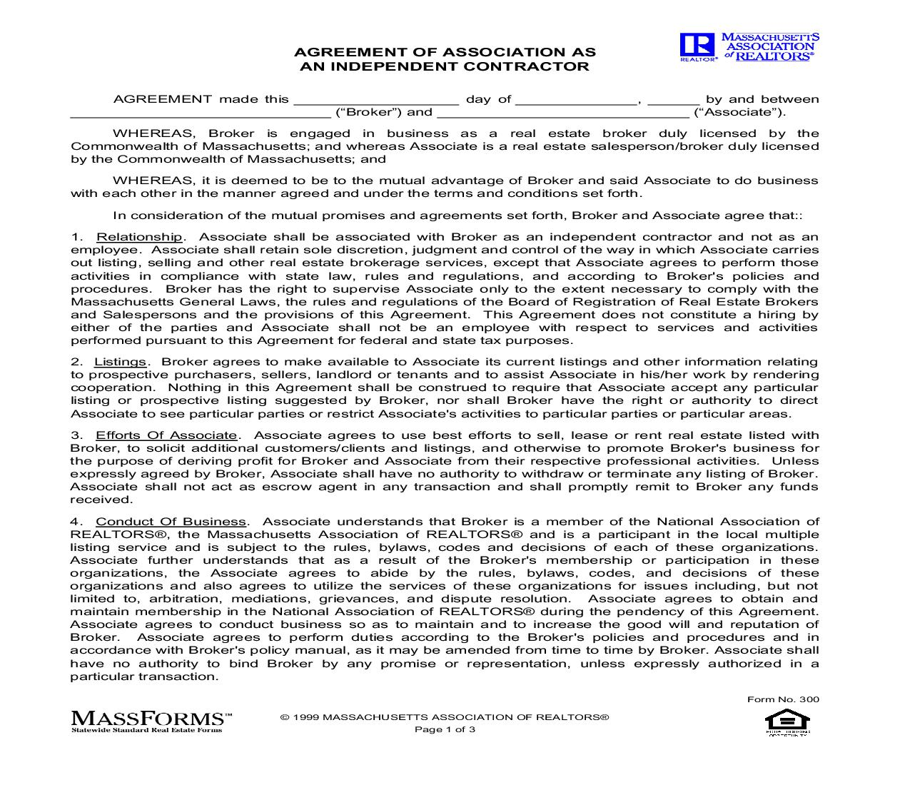 Agreement Of Association As An Independent Contractor {300} | Pdf Fpdf Doc Docx | Murtha Cullina