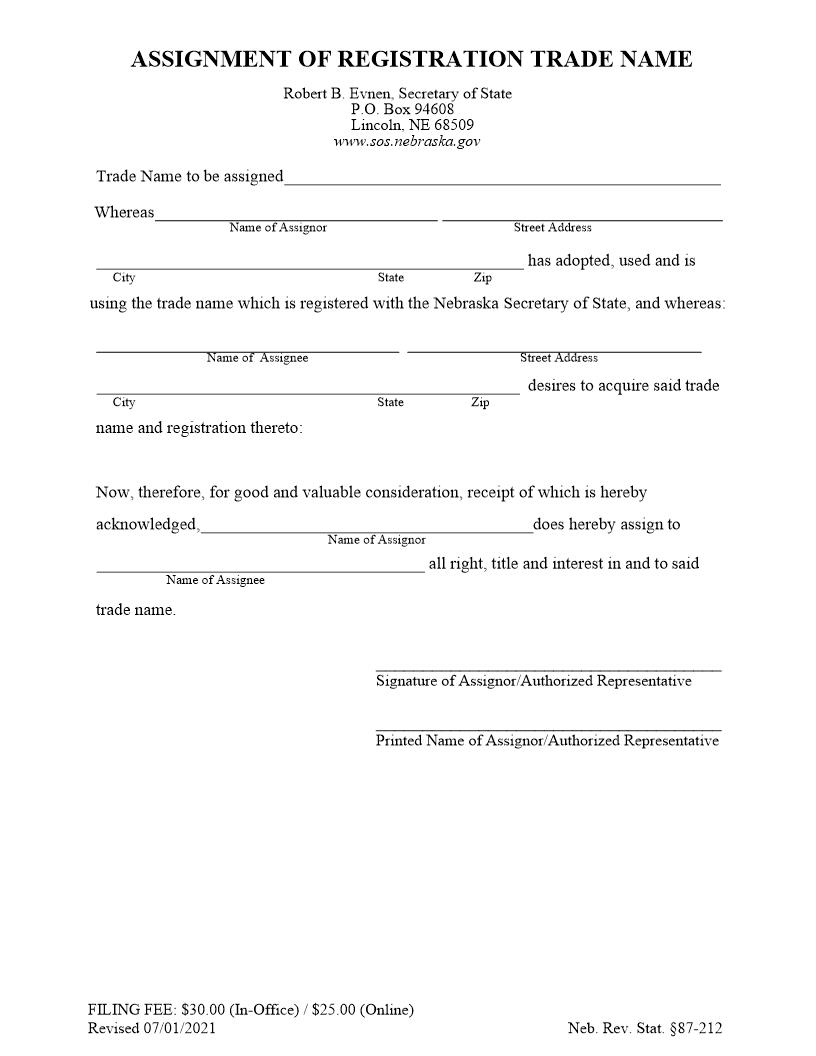 Assignment Of Registration For Trade Name | Pdf Fpdf Doc Docx | Nebraska
