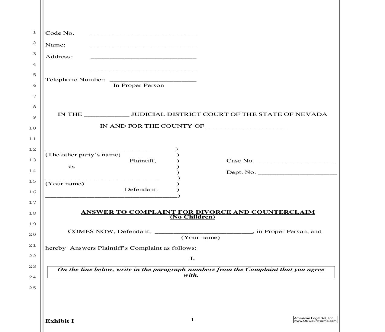 Answer To Complaint For Divorce And Counterclaim (No Children) | Pdf Fpdf Doc Docx | Nevada