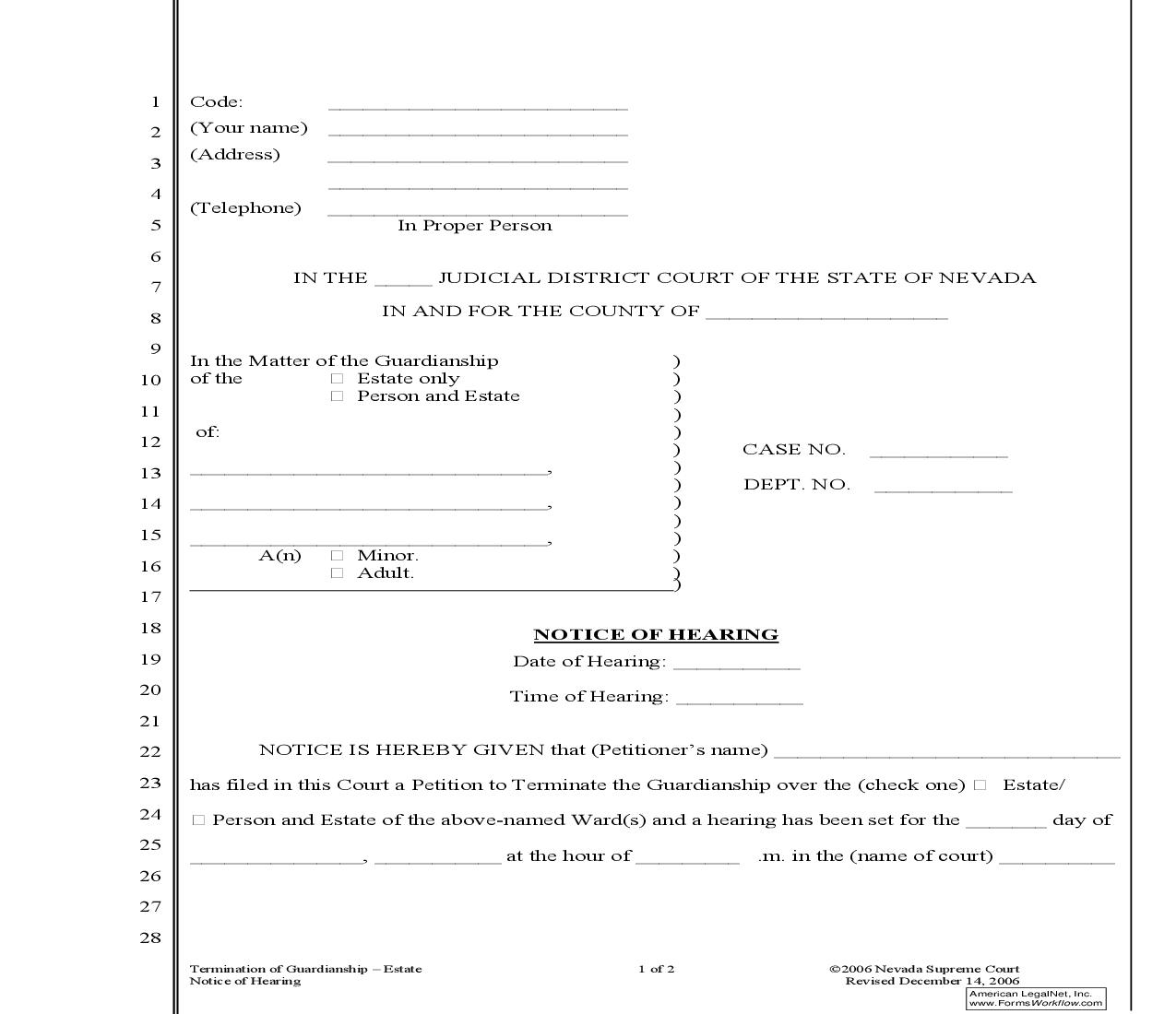 Notice Of Hearing (Termination Of Guardianship - Estate) {MM} | Pdf Fpdf Doc Docx | Nevada