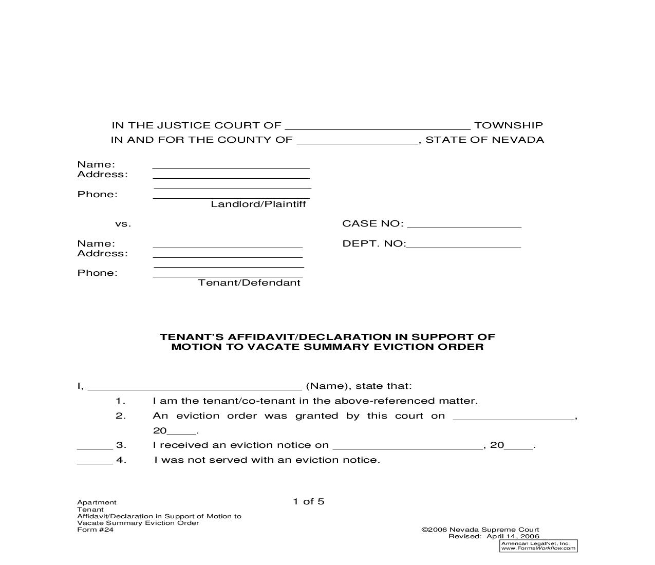 Tenants Affidavit Or Declaration In Support Of Motion To Vacate Summary Eviction Order {24} | Pdf Fpdf Doc Docx | Nevada