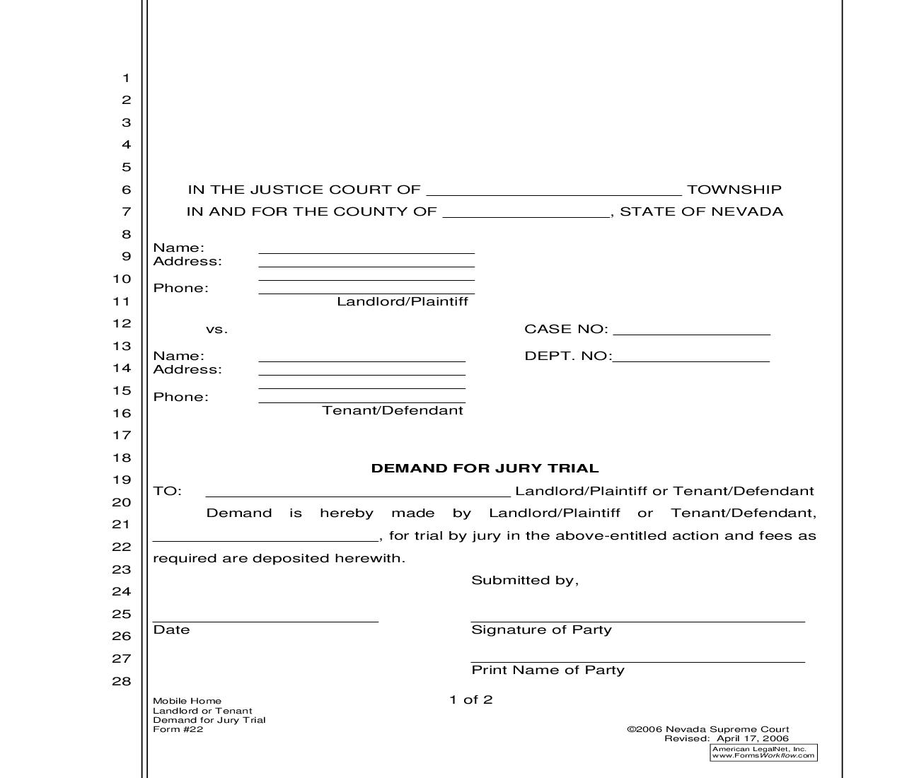 Demand For Jury Trial {22} | Pdf Fpdf Doc Docx | Nevada
