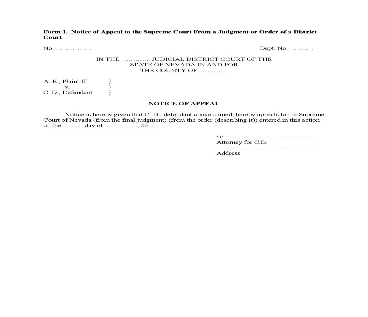 Notice Of Appeal To Supreme Court From Judgment Or Order Of District Court {1} | Pdf Fpdf Doc Docx | Nevada