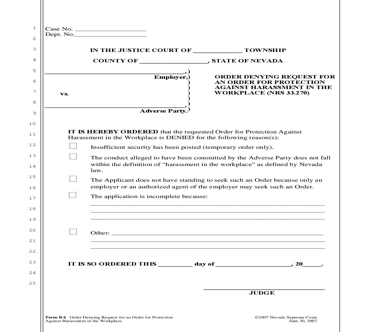 Order Denying Request For An Order For Protection Against Harassment In The Workplace {B-6} | Pdf Fpdf Doc Docx | Nevada