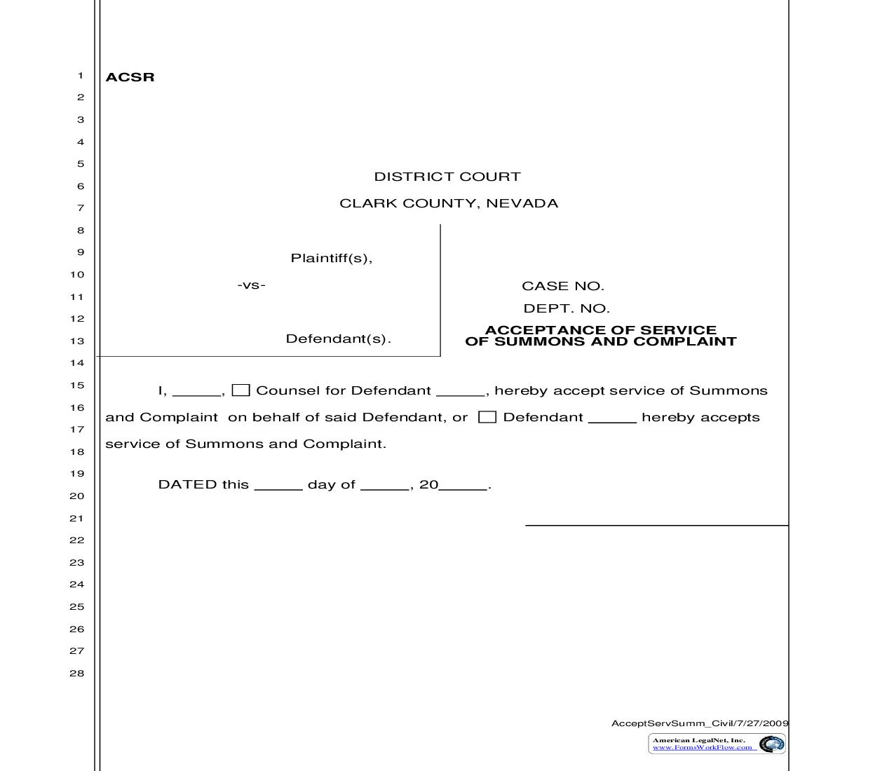 Acceptance Of Service Of Summons And Complaint {ACSR}   Pdf Fpdf Doc Docx   Nevada