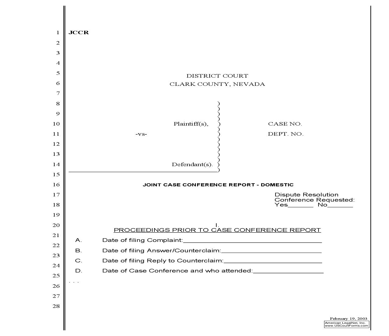 Joint Case Conference Report Domestic {JCCR} | Pdf Fpdf Doc Docx | Nevada