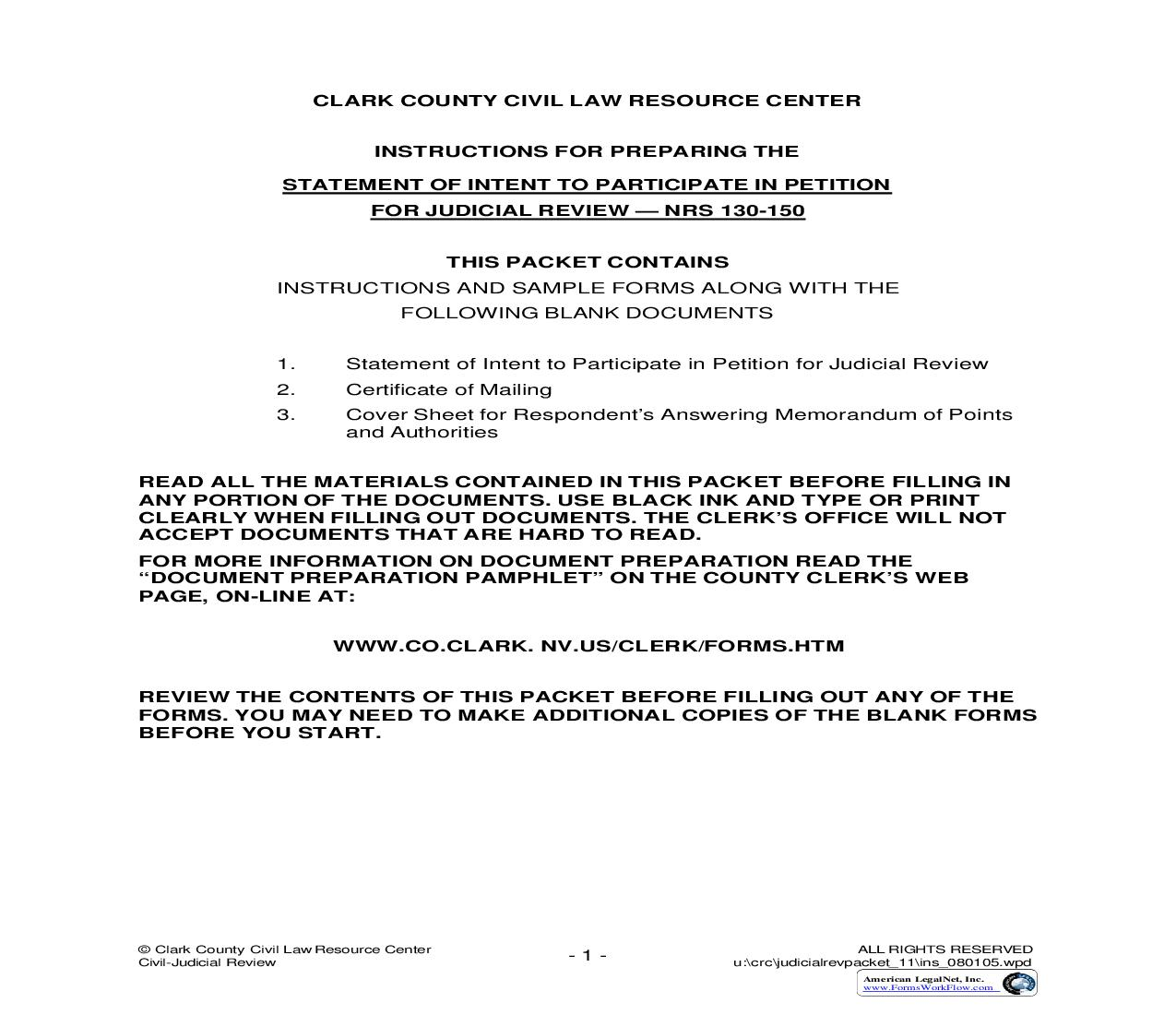 Statement Of Intent To Participate In Petition For Judicial Review (NRS 130-150) With Instructions | Pdf Fpdf Doc Docx | Nevada
