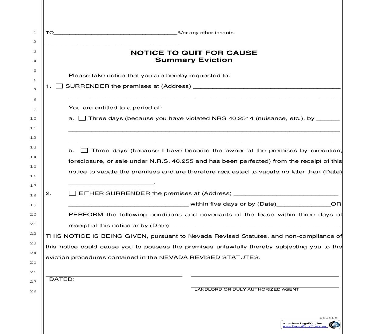 Notice To Quit For Cause - Summary Eviction   Pdf Fpdf Doc Docx   Nevada