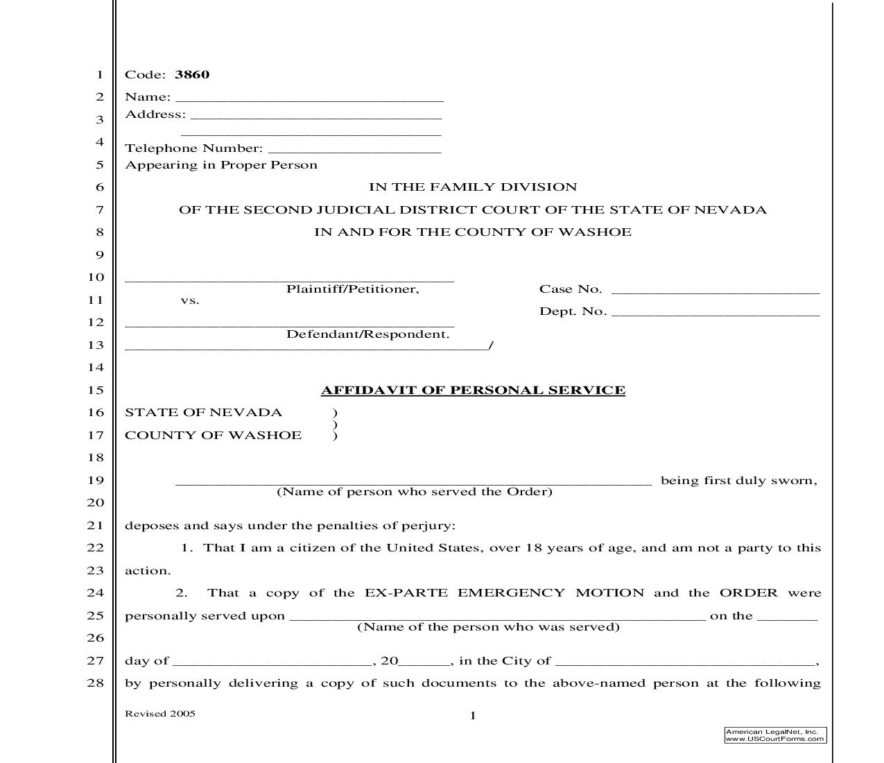 Affidavit Of Personal Services | Pdf Fpdf Doc Docx | Nevada